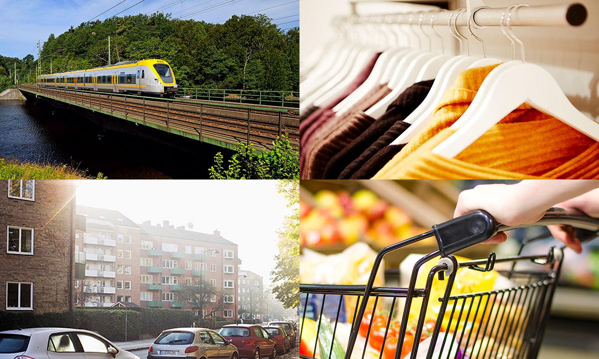 Bildcollage av tåg, parkerade bilar, klädställning och kundvagn.